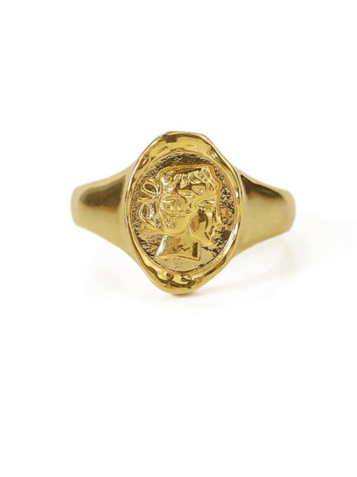 TINGS Brass Geometric Portrait Vintage Band Ring 3