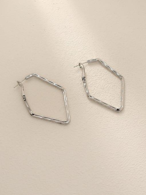 White K Brass Geometric Minimalist Huggie Trend Korean Fashion Earring