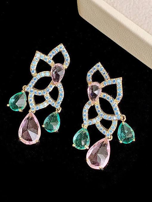 SUUTO Brass Cubic Zirconia Flower Luxury Drop Earring 1