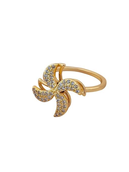 HYACINTH Brass Cubic Zirconia Flower Minimalist Band Ring 1