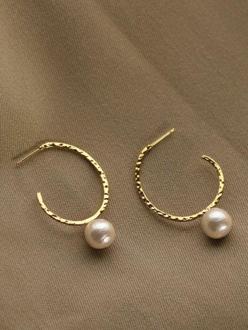 Cotton beads Brass Geometric Vintage C-shaped big ear ring Hoop Earring