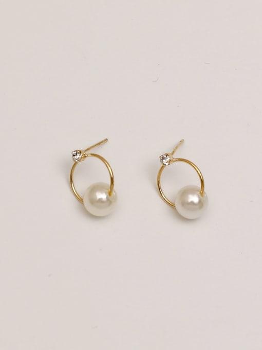 14K real gold pearl Brass Imitation Pearl Geometric Minimalist Drop Earring