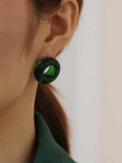 Emerald green single sale Coloured Glaze Round Vintage Stud Earring( Single)