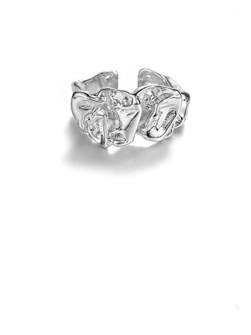 Platinum Brass Irregular Geometric Vintage Band Ring