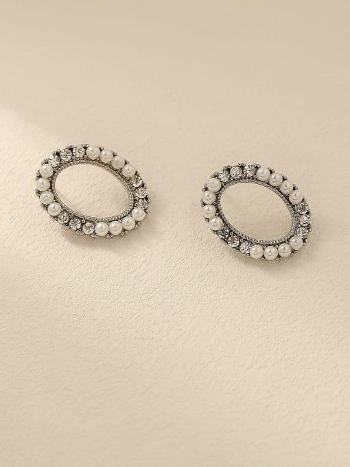 white K Brass Imitation Pearl Oval Vintage Stud Trend Korean Fashion Earring