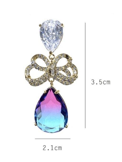SUUTO Brass Cubic Zirconia Water Drop Luxury Drop Earring 2