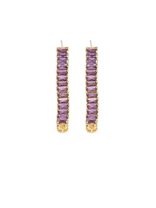 Purple zircon Brass Cubic Zirconia Rainbow Minimalist Drop Earring