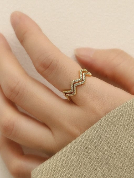 HYACINTH Brass Cubic Zirconia Geometric Minimalist Stackable Ring 1