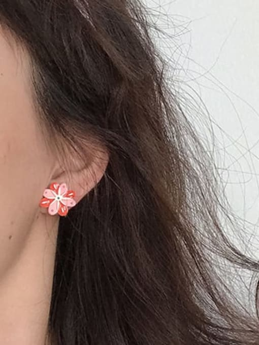 Five Color Alloy Enamel Flower Minimalist Stud Earring 1