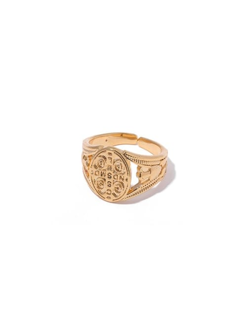 1 (ring 8) Brass Hollow Geometric Vintage Band Ring