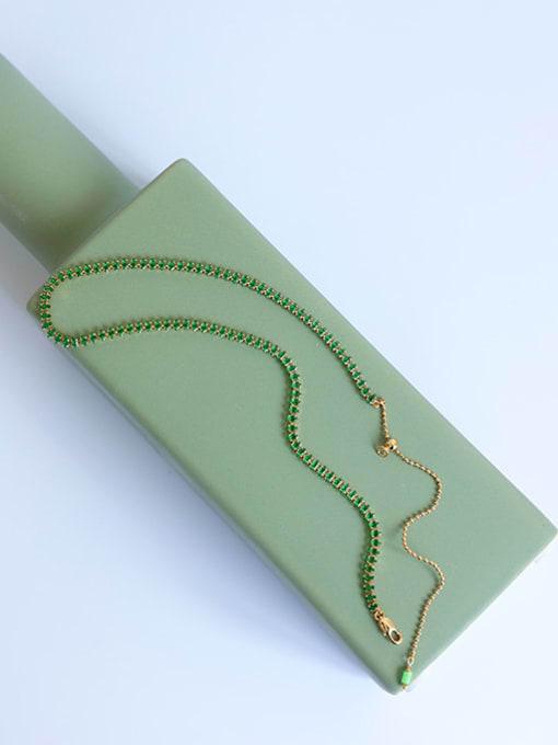 Five Color Brass Cubic Zirconia Geometric Hip Hop Necklace 2