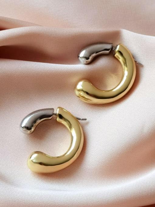 HYACINTH Brass Smooth Geometric Minimalist Stud Earring 2