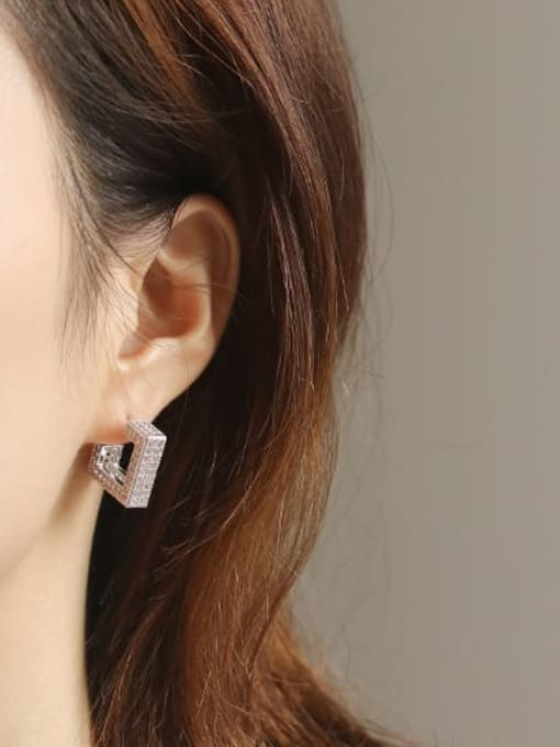 ACCA Brass Cubic Zirconia Square Minimalist Stud Earring 1