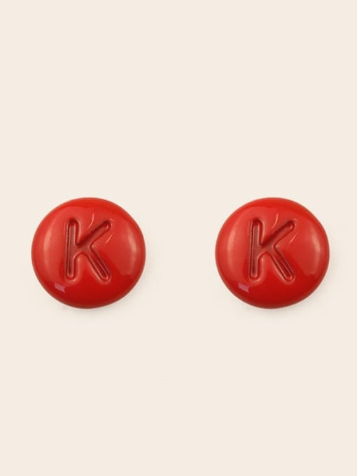 K Alloy Enamel Letter Minimalist Stud Earring
