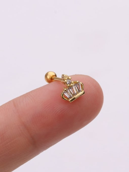Gold 2#(Single) Brass Cubic Zirconia Irregular Cute Stud Earring(Single)