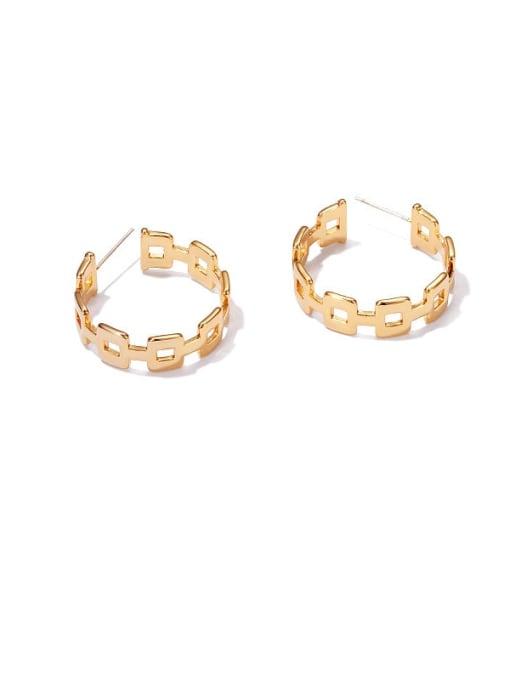 golden Brass Geometric Minimalist Hoop Earring