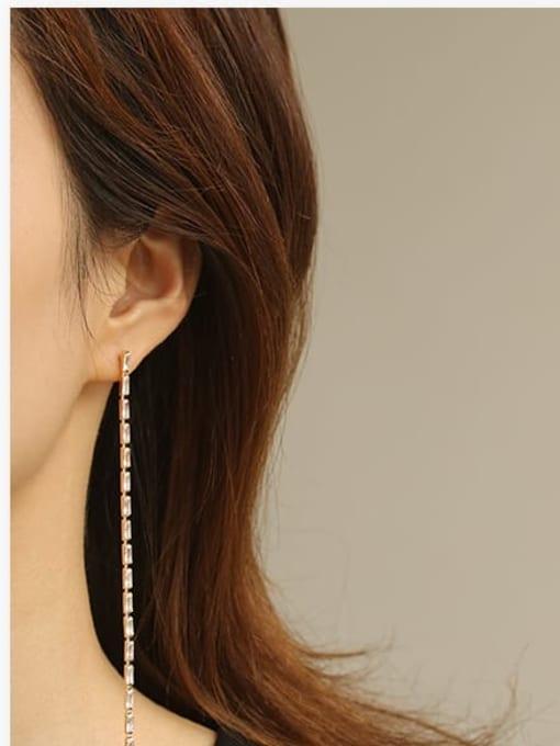 ACCA Bronze Cubic Zirconia Tassel Minimalist Threader Earring 1
