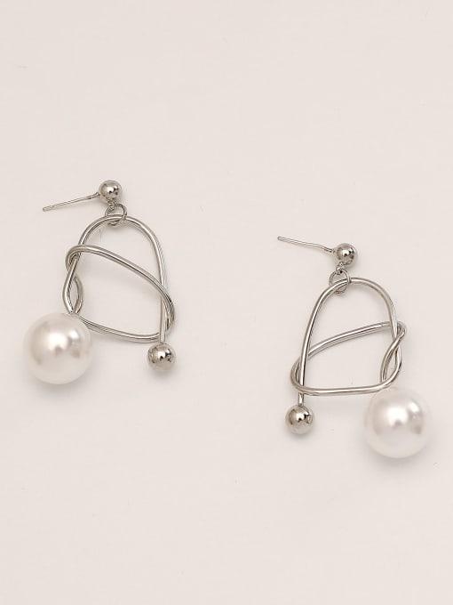 White K Brass Imitation Pearl Geometric Minimalist Drop Earring