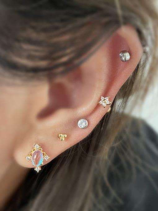 HISON Brass Cubic Zirconia Geometric Hip Hop Stud Earring 1