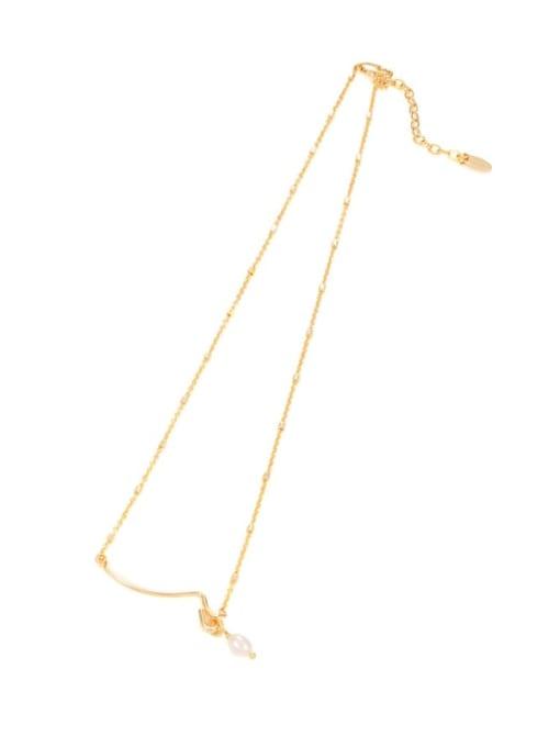 Five Color Brass Imitation Pearl Geometric Minimalist Necklace 0