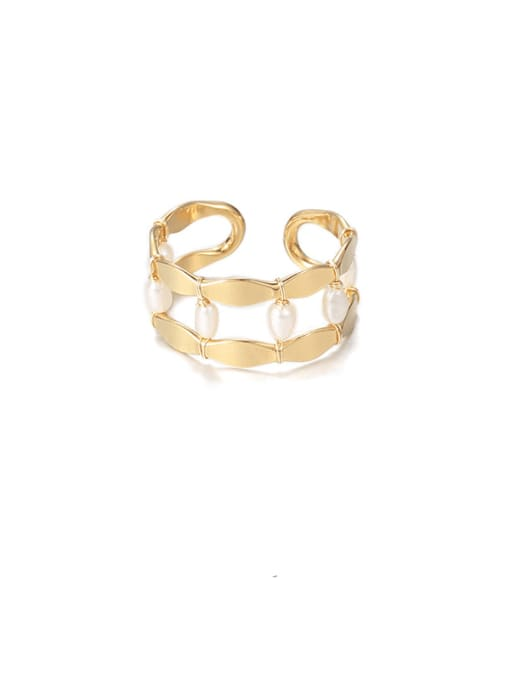 Section 2 Brass Imitation Pearl Geometric Vintage Stackable Ring