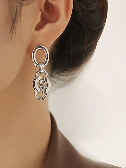 ACCA Brass Geometric Hip Hop Drop Earring 2
