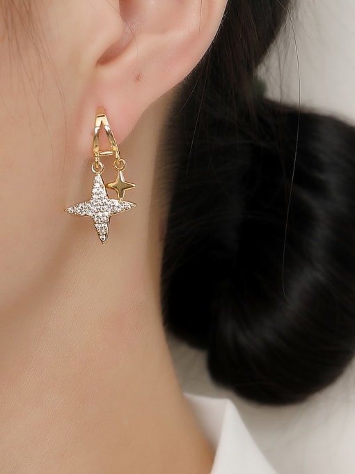 HYACINTH Brass Cubic Zirconia Star Vintage Stud Trend Korean Fashion Earring 1