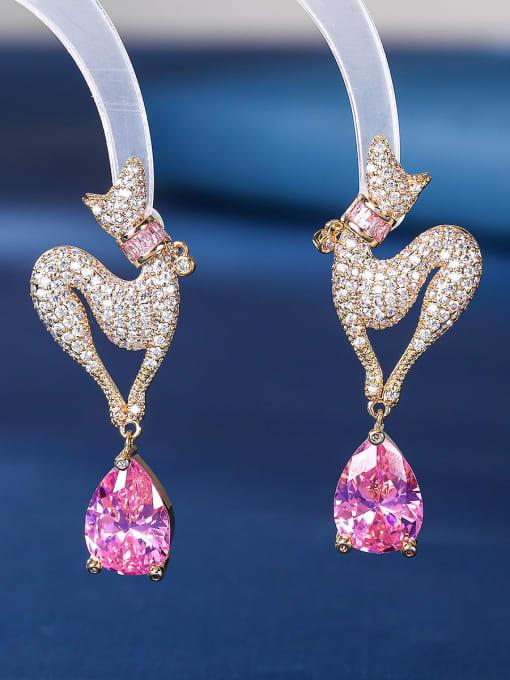 Pink Brass Cubic Zirconia Water Drop Luxury Stud Earring