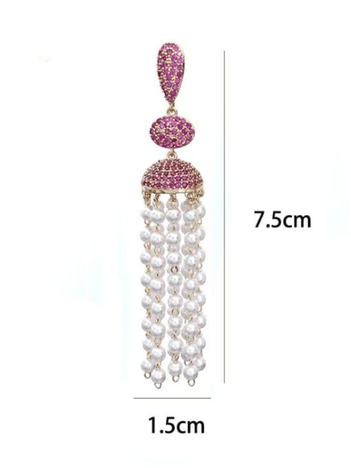 SUUTO Brass Imitation Pearl Geometric Ethnic Drop Earring 3