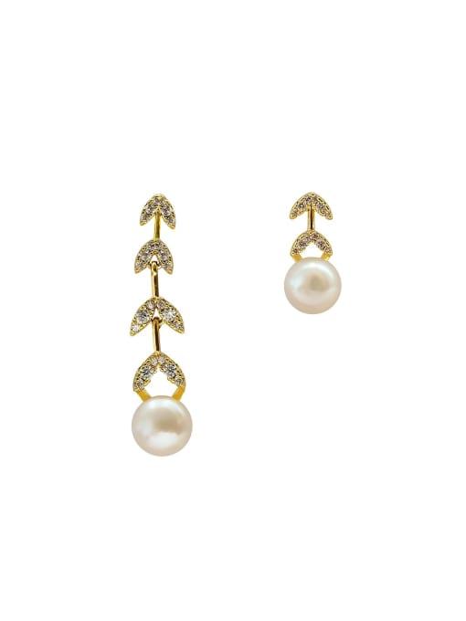 HYACINTH Brass Imitation Pearl  Asymmetry Geometric Minimalist Drop Earring 3
