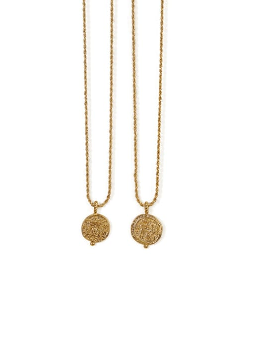 ACCA Brass Vintage  Vintage embossed coin round card Necklace 3