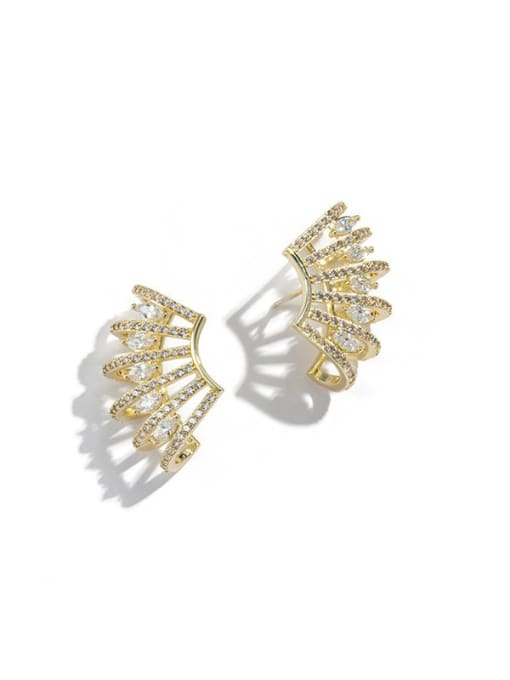 OUOU Brass Cubic Zirconia Geometric Statement Clip Earring 4