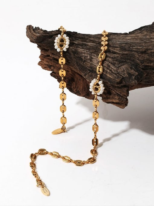 TINGS Brass Imitation Pearl Geometric Hip Hop Necklace