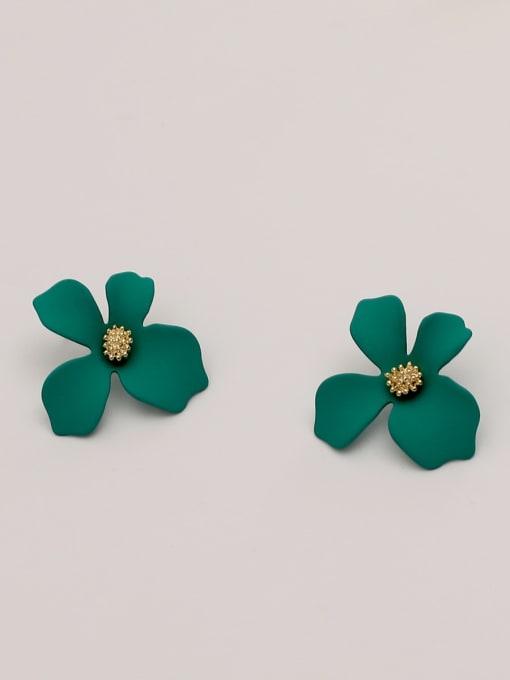 green Brass Enamel Flower Cute Stud Earring