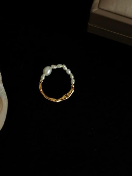 Five Color Brass Imitation Pearl Irregular Vintage Band Ring 0