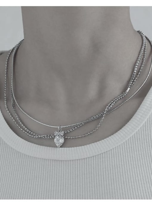 TINGS Brass Cubic Zirconia Water Drop Vintage Multi Strand Necklace 2