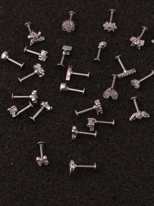 HISON Brass Cubic Zirconia Star Hip Hop Stud Earring 1