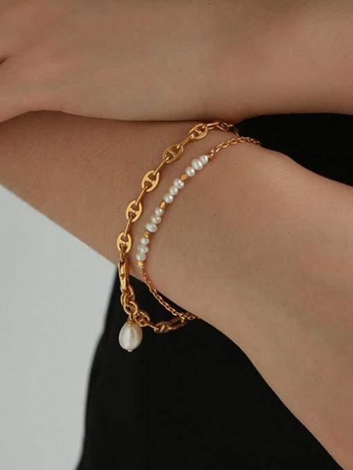 TINGS Brass Imitation Pearl Irregular Minimalist Bracelet 1