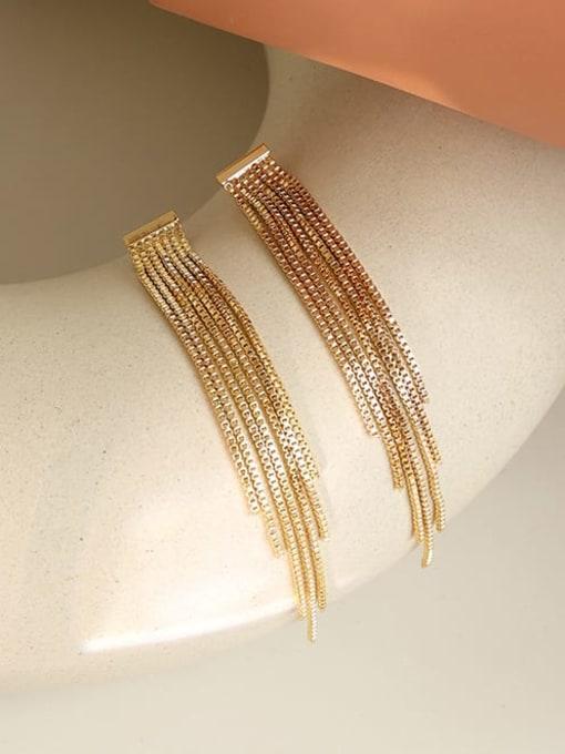 Five Color Brass Tassel Trend Threader Earring 0