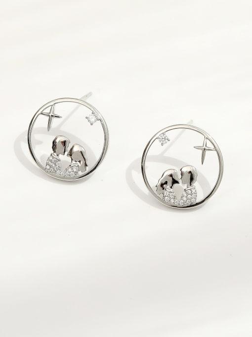 white K Brass Cubic Zirconia Geometric Hip Hop Stud Earring