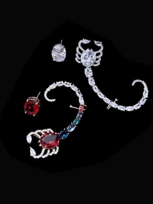 SUUTO Brass Cubic Zirconia Irregular Vintage Cluster Earring