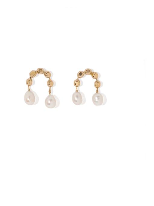 golden Brass Imitation Pearl Geometric Vintage Stud Earring