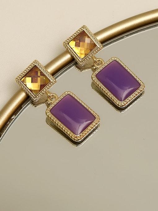 Retro purple Copper Resin Geometric Vintage Drop Earring