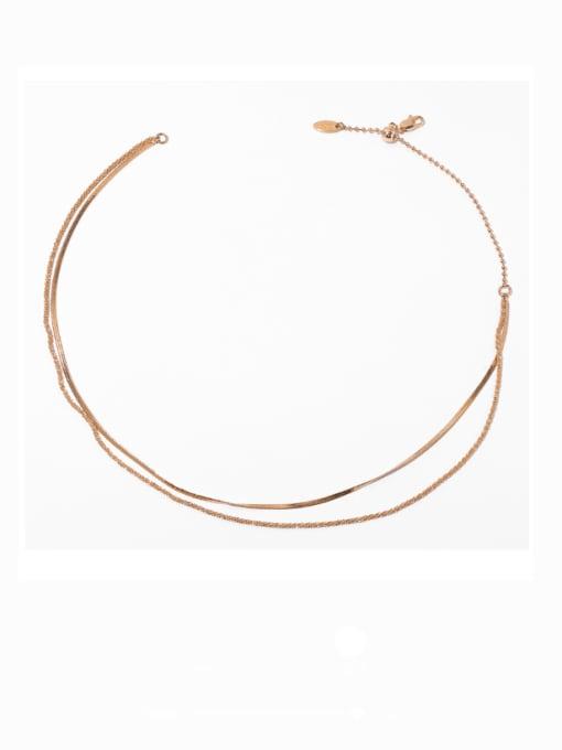 TINGS Bronze Geometric Hip Hop Multi Strand Necklace