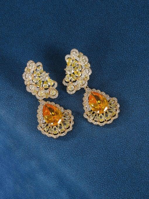 OUOU Brass Cubic Zirconia Water Drop Luxury Drop Earring 4