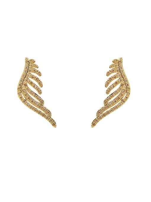 HYACINTH Brass Cubic Zirconia Wing Vintage Stud Earring