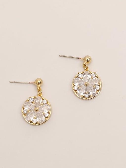 14K gold Brass Cubic Zirconia Flower Vintage Drop Earring