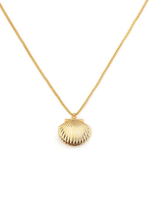 ACCA Brass Irregular Minimalist  shell pendant Necklace 2