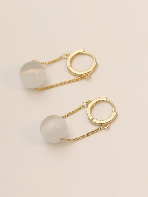 14K gold Brass Cats Eye Geometric Minimalist Drop Earring