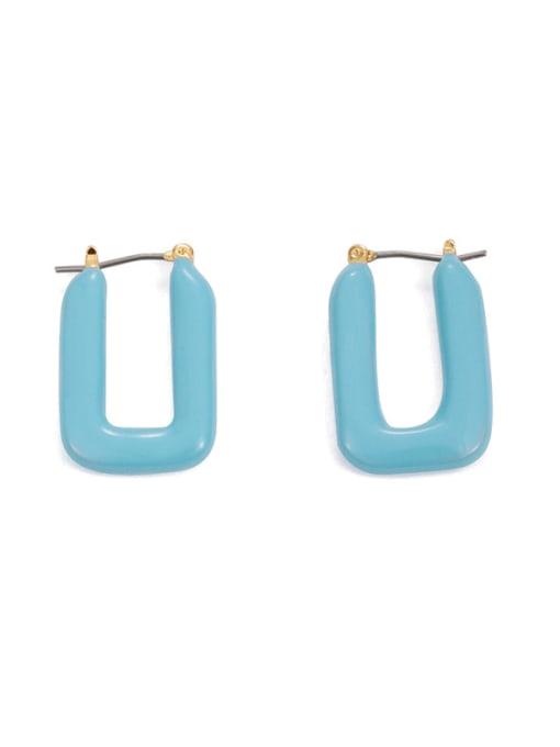 Five Color Brass Enamel Geometric Minimalist Stud Earring